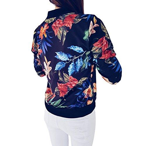 de Black Chaqueta bombardero la Chaqueta Color béisbol corto XL de la las tamaño Invierno chaqueta Mujeres de mujeres impresión floral ZFFde de acolchada de clásica cqH60aBwa