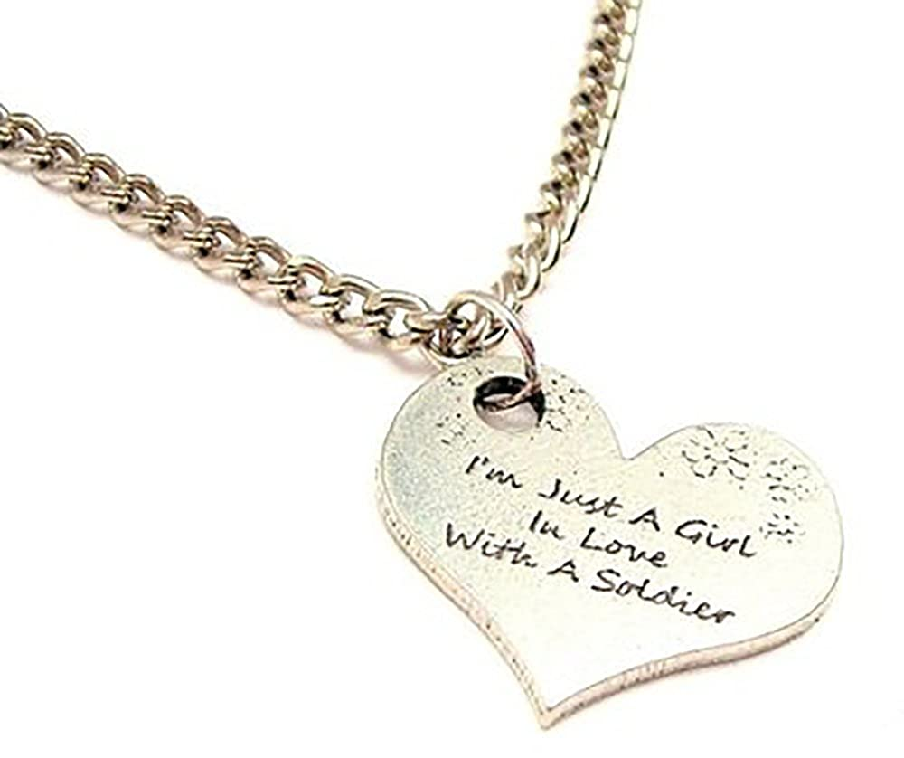 ChubbyChicoCharms IM Just A Girl In Love With A Soldier Single Charm 18 Necklace