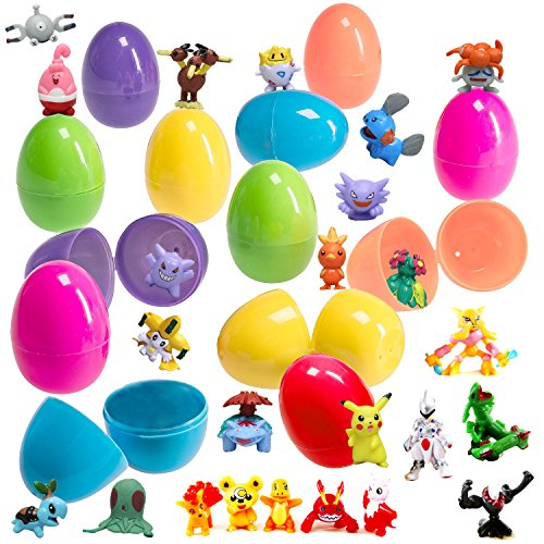 Set of 24 Toy Filled Easter Eggs With Pokemon Figures, Assorted Sizes