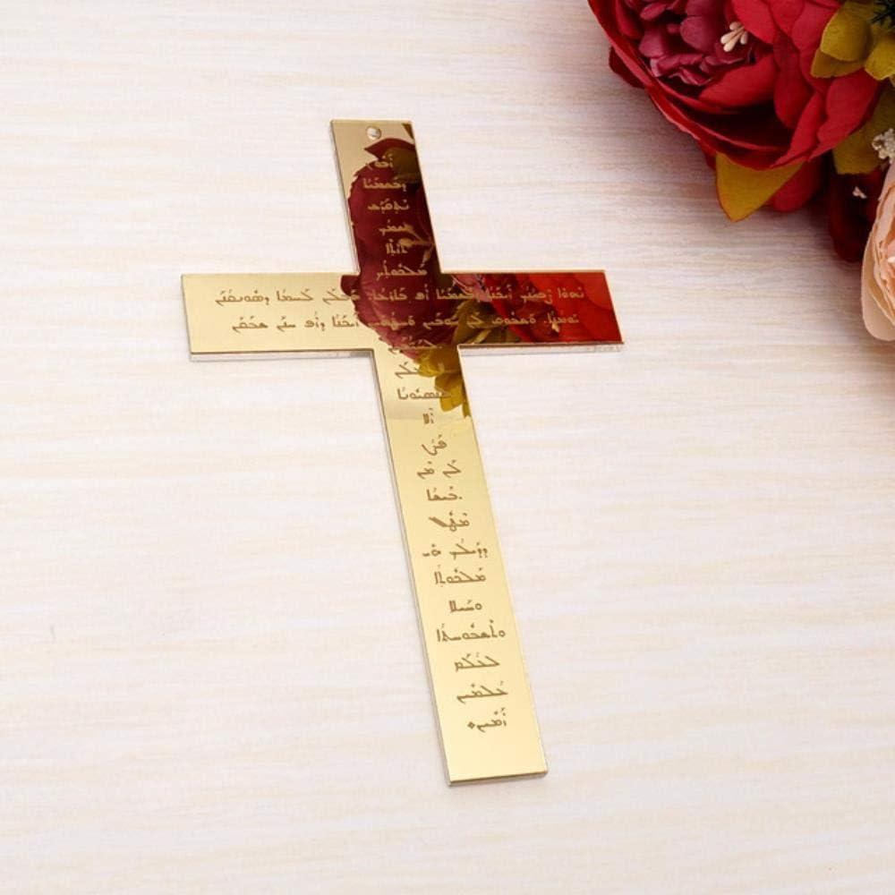 BWYFGRT Nuova Croce da Parete a Specchio in Acrilico per Appendere la Preghiera del Signore Dio benedica per Il Battesimo e Il Battesimo La casa Si muove 40Cm 30Cm 20.Gold.20Cm Altezza