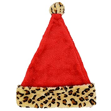 f8c60363f3b86 Image Unavailable. Image not available for. Color  Santa Hat with Leopard  Print Trim