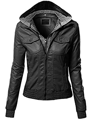 Xpril Women's Casual Zipper Closure Stitch Detailed Moto Hoodie Jacket