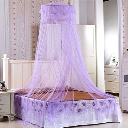 Sell4Style Mosquito Net for Bed Canopy Dome Elegant Lace For Crib Twin Full Queen Bed (purple)