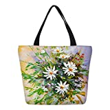 Flowers Prints Canvas Handbags Shopping Tote Women Shoulder Bags 13