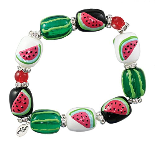 Clementine Design Kate & Macy Watermelon Bracelet Painted Glass Beads Rhinestones