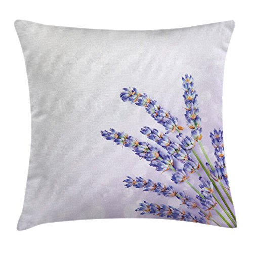 Ambesonne Lavender Throw Pillow Cushion Cover, Little Posy of Medicinal Herb Fresh Plant of Purple Flower Spa Aromatheraphy Organic, Decorative Square Accent Pillow Case, 24 X 24 Inches, Lavander