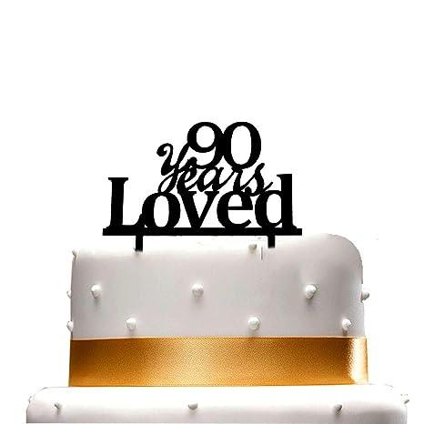 Amazon.com: Adorno para tartas de 90 años, 90 cumpleaños ...