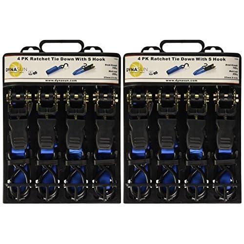 8x DynaSun fh45626robuste Fixation de sangle à cliquet 25mm 4,8m Cargo Griffe d'arrimage Crochet J Capacité d'arrimage (LC): 700kg 85%OFF