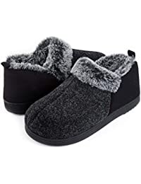 Women's Cozy Memory Foam Slippers with Warm Plush Faux Fur Lining, Wool-Like Blend Micro Suede House Shoes with Anti-Slip Indoor Outdoor Rubber Sole