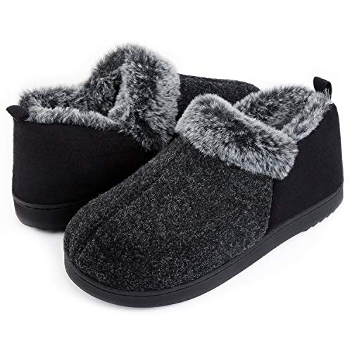 Fur Lining - ULTRAIDEAS Women's Cozy Memory Foam Slippers with Warm Plush Faux Fur Lining, Wool-Like Blend Micro Suede House Shoes with Anti-Slip Indoor Outdoor Rubber Sole Black