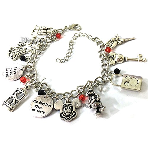 Disney Jewelry For Adults (BlingSoul Disney Cosplay Costume Jewelry Collection (Mickey Mouse Charm Bracelet))
