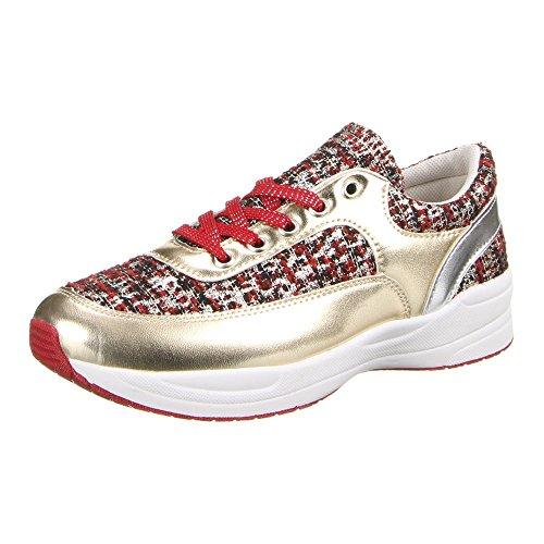Ital-Design - zapatilla baja Mujer Rojo - Rot Gold