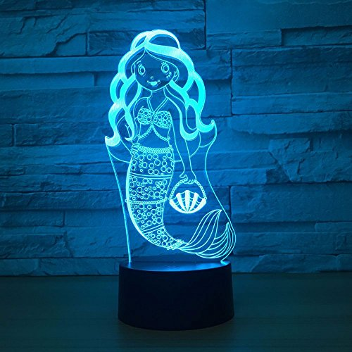 Mermaid 3D Optical Desk Lamp LED Night Light 7 Colors Change Table Light with USB Cable for Home Decoration Household Accessories,Princess Birthday Christmas Gift for Girl Kids or Adult