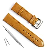Handmade Vintage Replacement Leather Watch Strap/Watch Band (22mm, Sheepskin Leather/Beige)