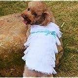 Lesypet Small Dog Summer Dress Puppy Fashion Chiffon Skirt- White & Medium/M