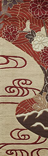 "Momeni Rugs KOI00KO-15RED2680 Koi Collection Hand Tufted 100% Wool Transitional Area Rug, 2'6"" x 8' Runner, Red"