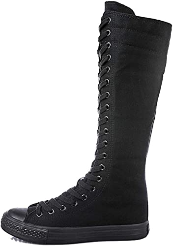 Women Canvas Boots Lace up Zip Casual