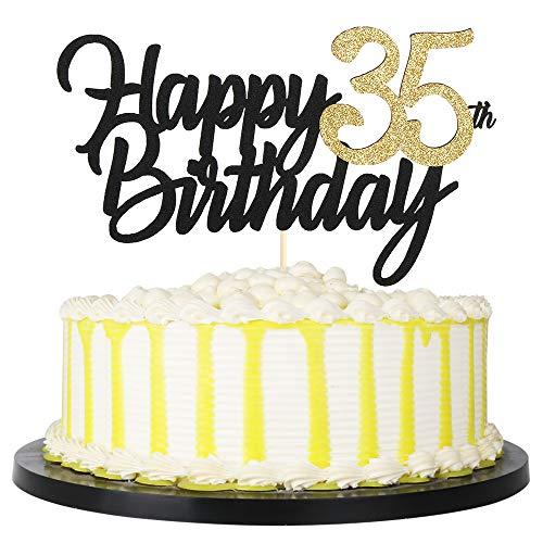 PALASASA Black Gold Glitter Happy Birthday cake topper - 35 Anniversary/Birthday Cake Topper Party Decoration (35th)