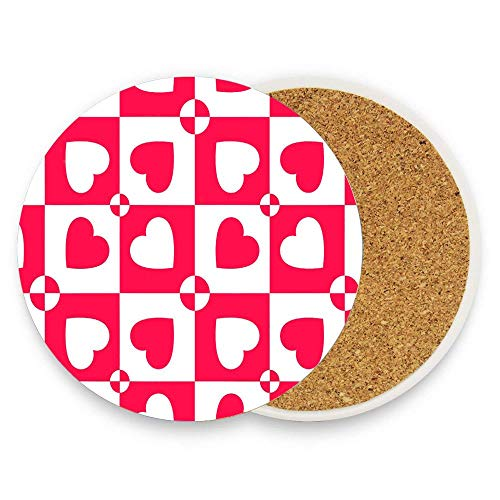 - HappyToiletLidCoverX Love Heart Patterns (4) Coaster for Drinks,Wallpaper Ceramic Round Cork Table Cup Mat Coaster Pack Of 1