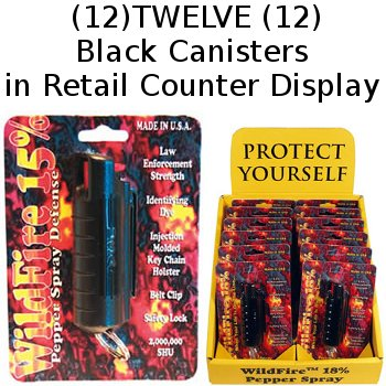 12 ~ WildFire® Pepper Spray Super Hot 18% OC 1/2 Ounce Key Chain Canisters 12-Count Counter Display / Family Pack Lot~BLACK~(PLEASE SEE SHIPPING RESTRICTIONS BEFORE ORDERING)