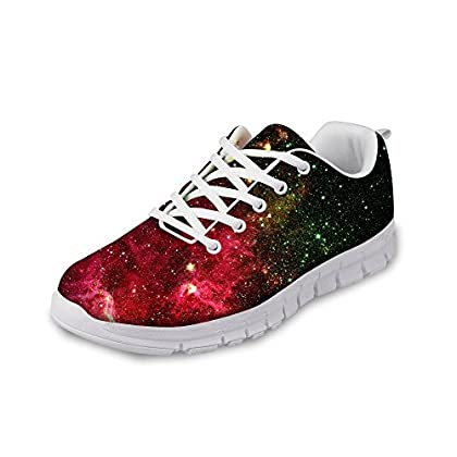 Amzbeauty Women's Stylish Trainers Lightweight Walking Athletic Gym Shoes Sneakers Colorful Galaxy Star