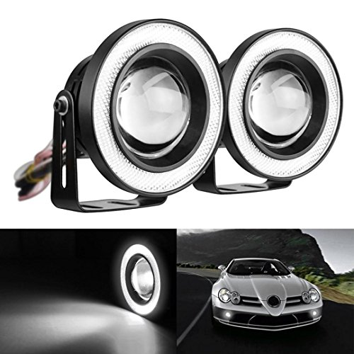 Ecosin Fashion 2.5 Car Fog Light COB LED Projector White Angel Eye Halo Ring DRL Driving Bulbs (Fog Lights Eye Angel compare prices)