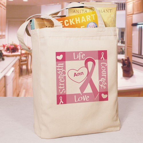 """Ribbon of Heart - Breast Cancer Awareness Personalized Canvas Tote Bag, 16""""H x 14""""W, 100% cotton (Personalized Breast)"""