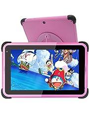Barn Surfplatta 7 tums,kids tablet,Android 10 surfplattor för barn,32 GB ROM IPS HD-skärm Småbarnstablett med WiFi-dubbelkamera Barnplatta, föräldrakontrollinlärningsplatta med barnsäkert fodral och stativ (rosa)
