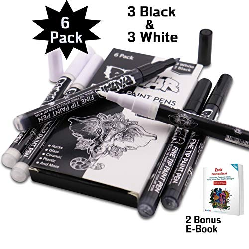 PINTAR - 3 Black And 3 White Acrylic Fine Tip Paint Pens For Rock Painting Art - (6 Pack) Vibrant Colors for Wood, Glass, Metal and Ceramic - Water Resistant and Quick Drying Ink For Arts & Crafts