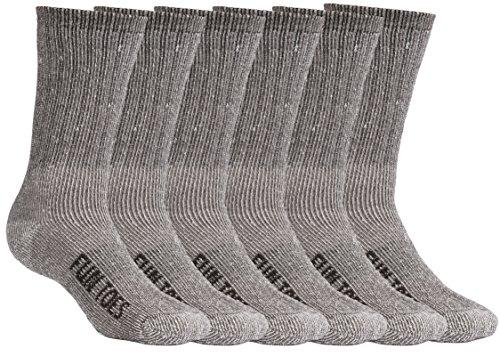 FUN TOES Men's Merino Wool Socks -6 Pack Value- Lightweight,Reinforced-Size 8-12 (Brown)
