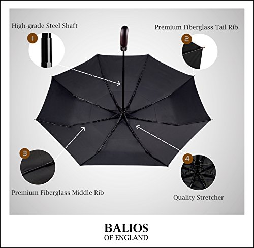 Balios Real Wood Handle Umbrella Windproof Fiberglass Steel Auto Open & Close Travel Folding with 300T Finest Fabric-Vented Double Canopy—Men's & Ladies by Balios (Image #1)