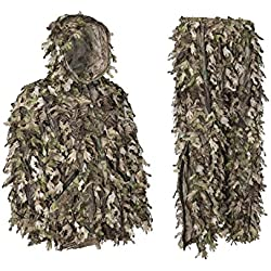 North Mountain Gear Ghillie Suit - Camo Hunting Suit - 3D Leafy Suit - Camouflage Hunting Suit w/Hooded Camo Jacket & Pants - Full Front Zipper, Zippered Pockets - Breathable, Quiet - Green - XXL