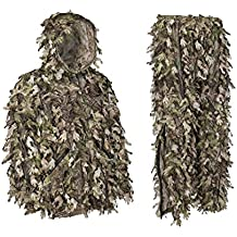 North Mountain Gear Ghillie Suit - Camo Hunting Suit - 3D Leafy Suit - Camouflage Hunting Suit w/ Hooded Camo Jacket & Pants - Full Front Zipper, Zippered Pockets - Breathable, Rustle-free