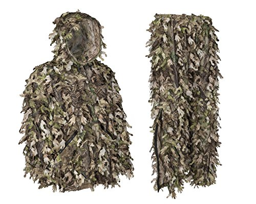 North Mountain Gear Ghillie Suit - Camo Hunting Suit - 3D Leafy Suit - Camouflage Hunting Suit w/Hooded Camo Jacket & Pants - Full Front Zipper, Zippered Pockets - Breathable, Quiet, Green - LG Breathable 3 Season Jacket