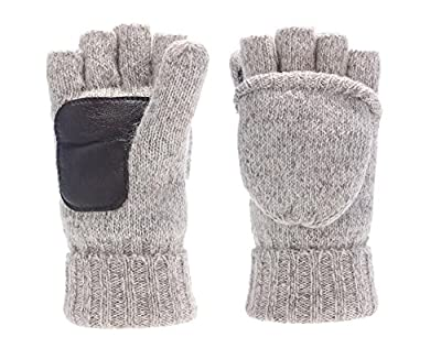 Sudawave Men's Knitted Wool Gloves with Leather Patch on Palm Micro Fleece Lined Warm Winter Gloves