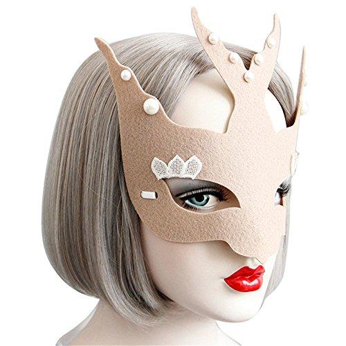 Challyhope Pretty Cute Eye Face Mask Masquerade Ball Halloween Costume Accessory (Khaki D) ()