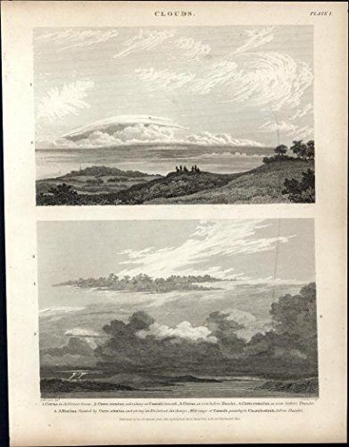(Clouds types formations Cirrus Nimbus image c 1812 fine antique engraved print )