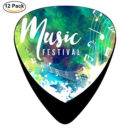 Guitar Pick Entertainment Celluloid Plectrum With Grunge Style Musical Guitar Black For Guitar Bass (12-Pack)