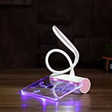 Desk Lamp, BolerGifts Eye-Care Table Lamps Rechargeable LED Reading Lamp with Touch Sensor and Message Board(Pink)