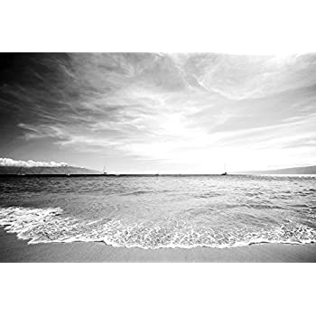 Beautiful beach scenes scenery art print on canvas rolled wall poster print black