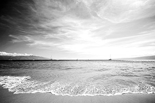 Beautiful Beach Scenes-Scenery - Art Print On Canvas Rolled Wall Poster - Black and