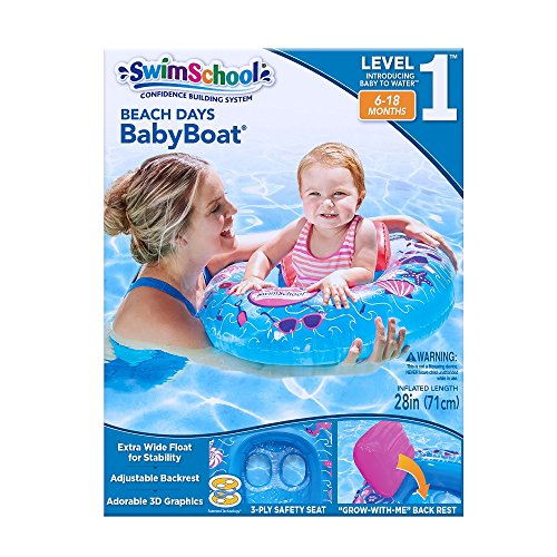 SwimSchool Beach Days Baby Boat with Adjustable Backrest Seat, Inflatable Pool Float, 6 to 18 Months, Blue/Pink