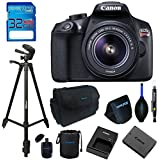 Canon EOS 1300D / T6 EF-S 18-55mm 18.7MP CMOS 5184 x 3456 Pixels (Black) + 72 Tripod + 32GB Memory Card Accessory Bundle