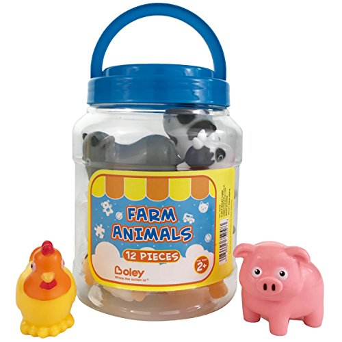 Boley Farm Animal Bath Bucket - 12 piece Farm Animal toys features, cow, chicken, pig and more! - Perfect party gift for anyone giving educational toys or bath toys for toddlers!