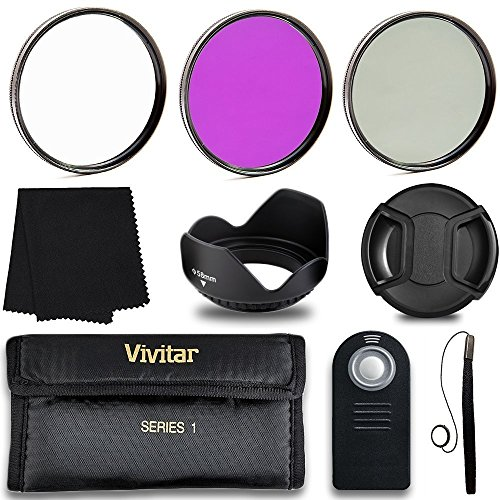 Professional 55MM Lens Filter Accessory Kit + Wireless Remote Control, 8 Piece Lightweight, Compact Accessories For Nikon
