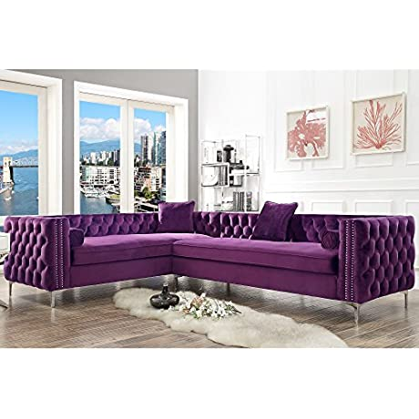 120 Purple Velvet Corner Sectional Sofa Button Tufted Silver Nail Head Trim Metal Y Legs Right Facing Giovanni Modern Contemporary By Inspired Home