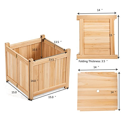 Giantex Portable Flower Planter Box Raised Vegetable Patio Lawn Garden Backyard Elevated Outdoor Wood Planter Boxes (Natural Square) by Giantex (Image #3)