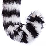 Life-like Ring-Tailed Lemur Tail Clip-On Accessory for Ring-Tailed Lemur Cosplay, Ring-Tailed Lemur Costume, Pretend Animal Play or Zoo Animal Party Costumes