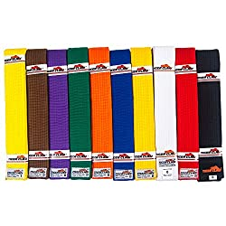 Tiger Claw 100% Cotton Martial Arts Uniform Ranking Belt - 10 Solid Colors ( Black, Yellow, Purple, Red, Blue, Green, Orange, Brown, White & Yellow) in All Sizes from Tiger Claw Inc.
