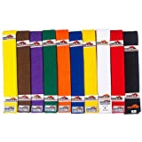 Tiger Claw 100% Cotton Martial Arts Uniform Ranking Belt – 10 Solid Colors ( Black, Yellow,...